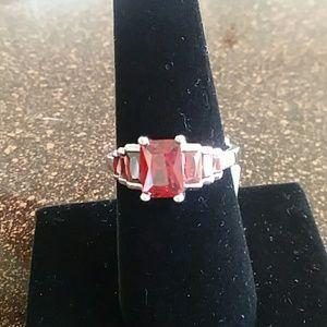 Emerald cut garnet ring